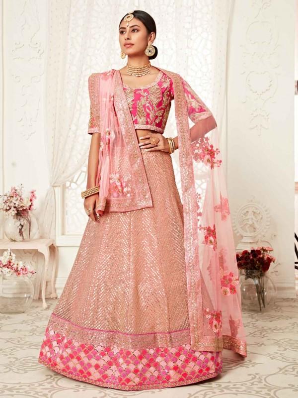 Pink Colour Women Lehenga Choli in Net Fabric.