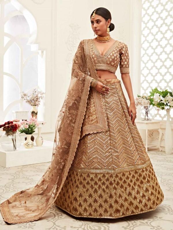 Silk Designer Lehenga Choli in Brown Colour.