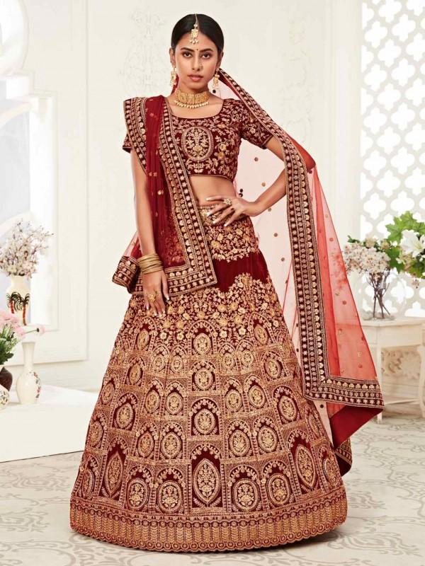 Red Colour Designer Bridal Lehenga Choli in Velvet Fabric.