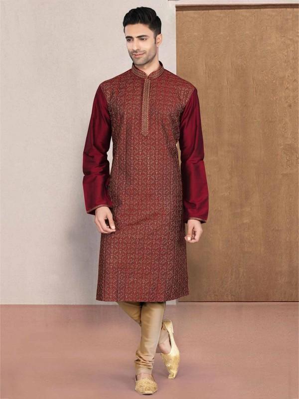 Cotton Designer Kurta Pajama in Maroon Colour.