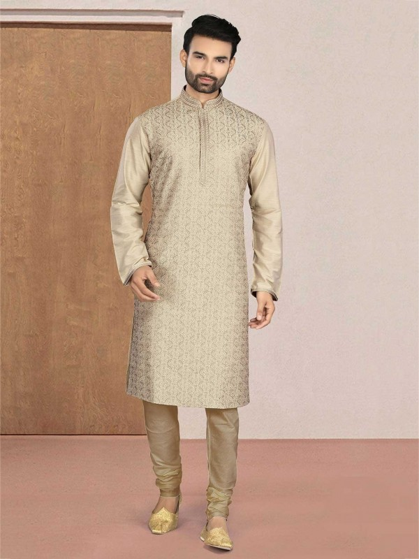 Cream Colour Readymade Kurta Pajama in Cotton Fabric.