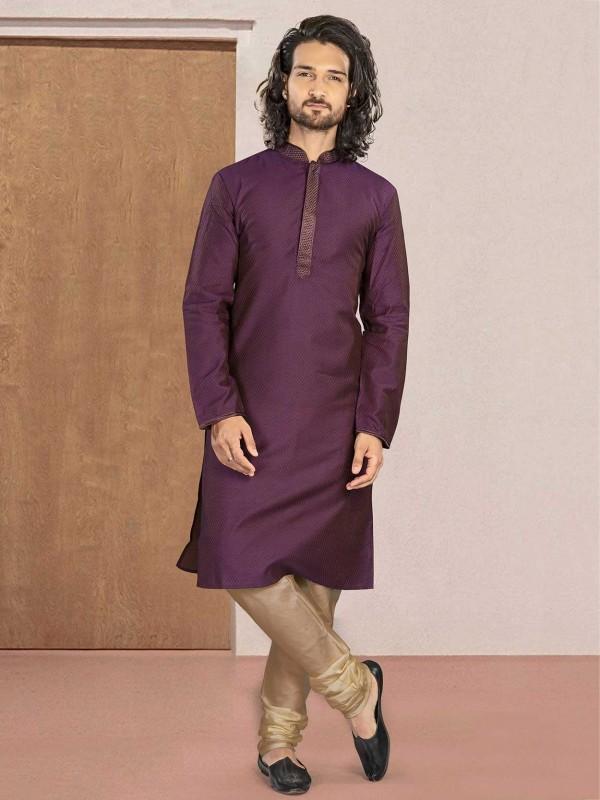 Cotton Kurta Pajama in Purple Colour.