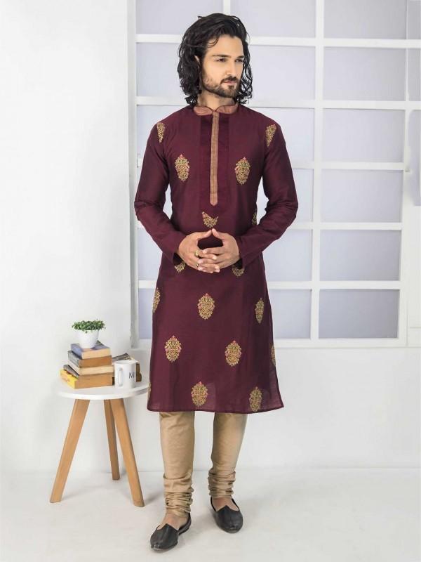 Wine Colour Embroidery Kurta Pajama.