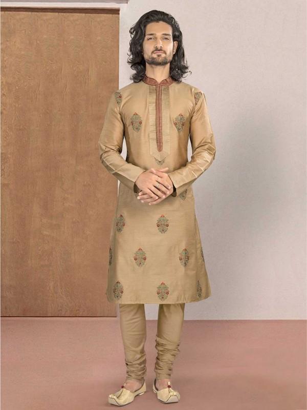 Beige Colour Cotton Fabric Kurta Pajama in Embroidery Work.