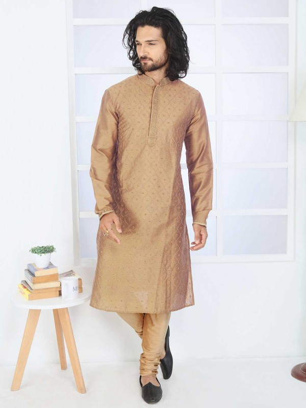 Golden Colour Men's Kurta Pajama in Cotton Fabric.