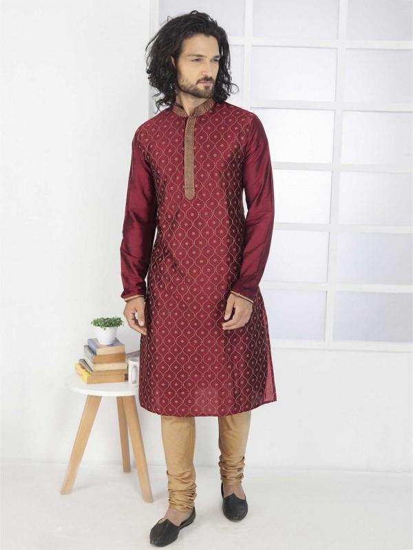 Cotton Kurta Pajama in Maroon Colour.