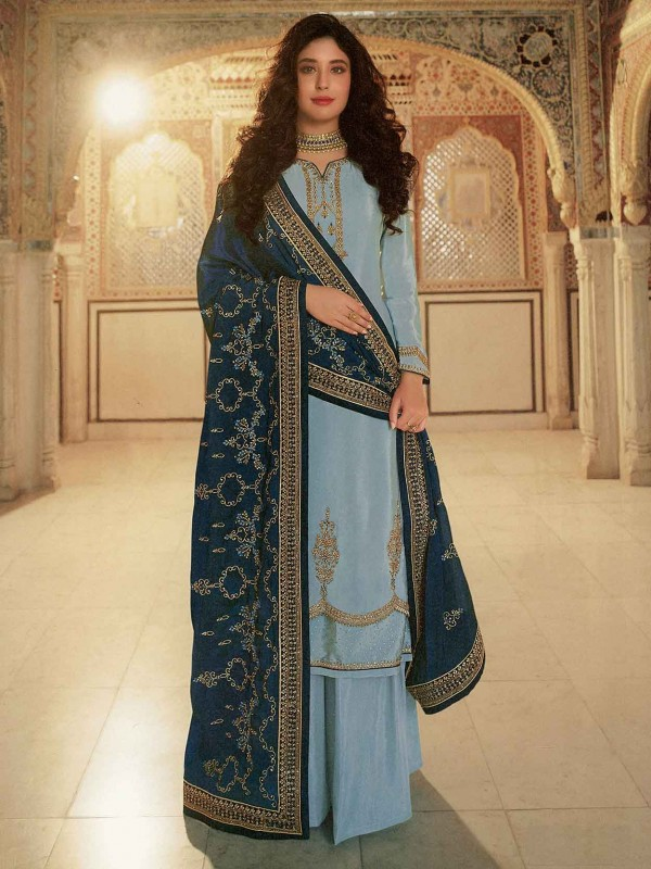 Sky Blue Colour Georgette Salwar Kameez.