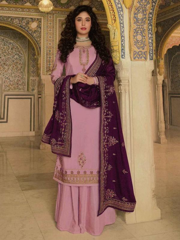 Pink Colour Georgette Sharara Salwar Suit.