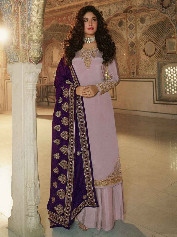 Grey,Pink Sharara Salwar Kameez in Georgette Fabric.