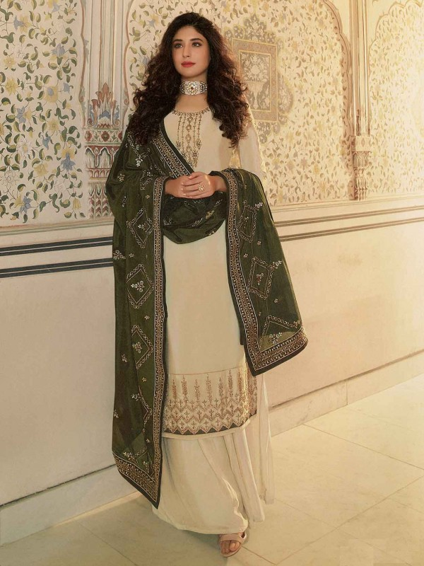 Beige Colour Sharara Salwar Suit in Georgette Fabric.