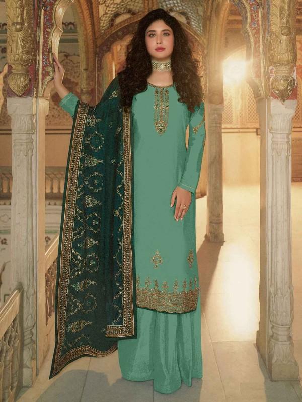 Turquoise Colour Georgette Fabric Women Salwar Kameez.