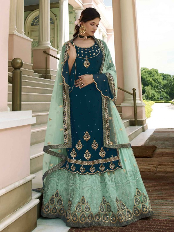 Royal Blue Colour Designer Sharara Salwar Suit in Georgette Fabric.