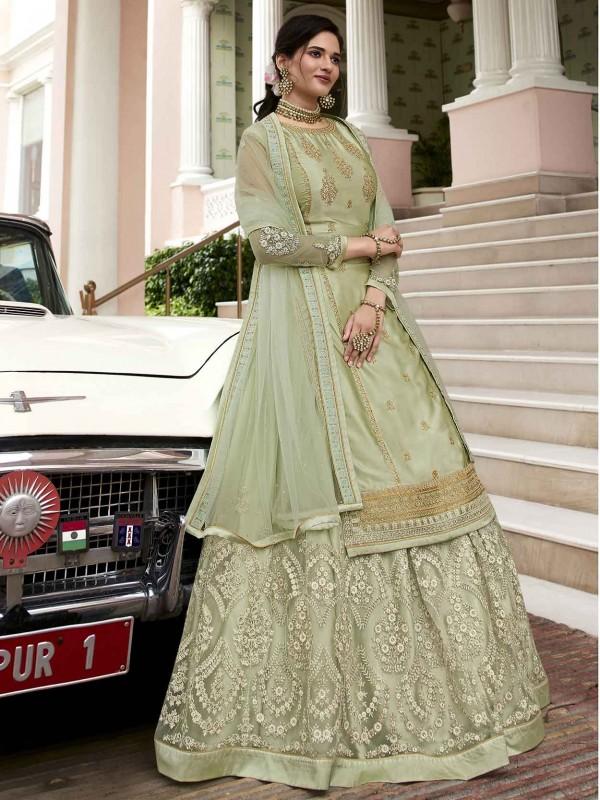 Lehenga Style Designer Salwar Suit Green Colour in Georgette Fabric.