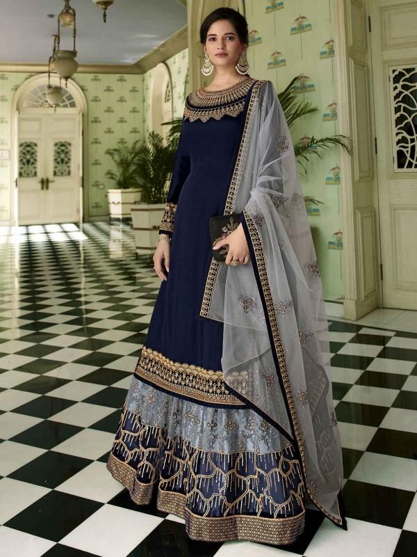 Navy Blue Colour Georgette Party Wear Sharara Salwar Suit.