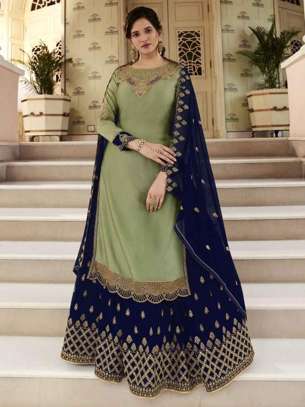 Indian Designer Salwar Kameez Green Colour in Georgette Fabric.