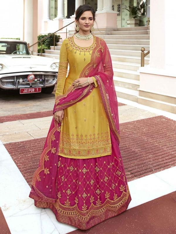Yellow,Pink Colour Designer Sharara Salwar Kameez.
