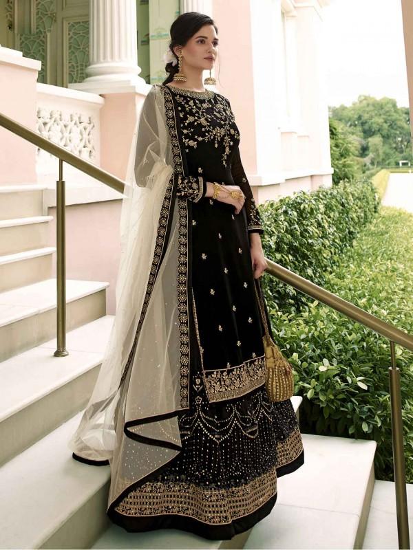 Black Colour Georgette Salwar Suit in Zardozi,Embroidery Work.