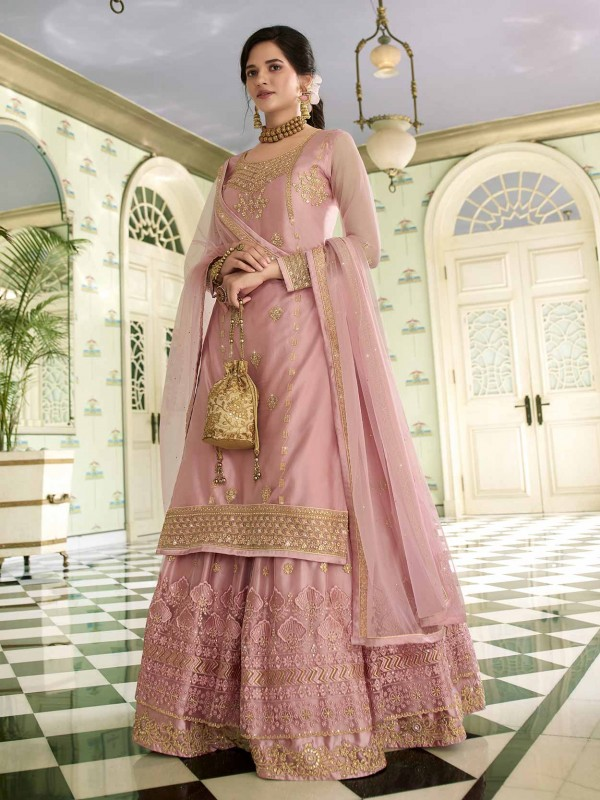 Pink Colour Net Designer Sharara Salwar Kameez.