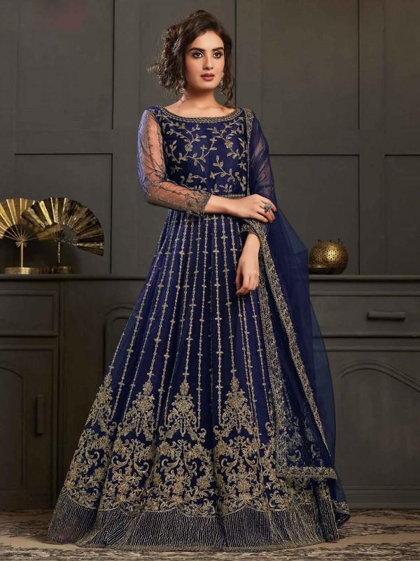 Blue Colour Net Anarkali Salwar Suit.