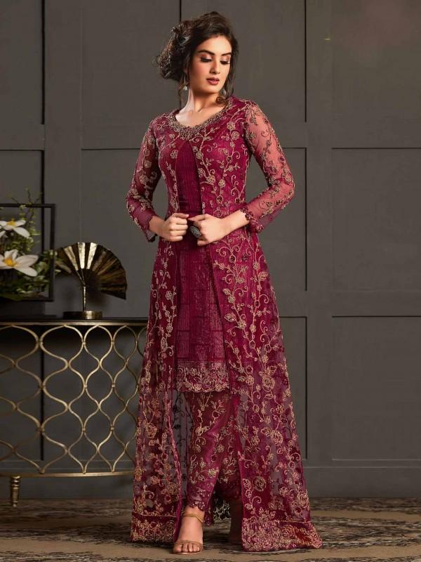 Magenta Net Designer Salwar Suit.