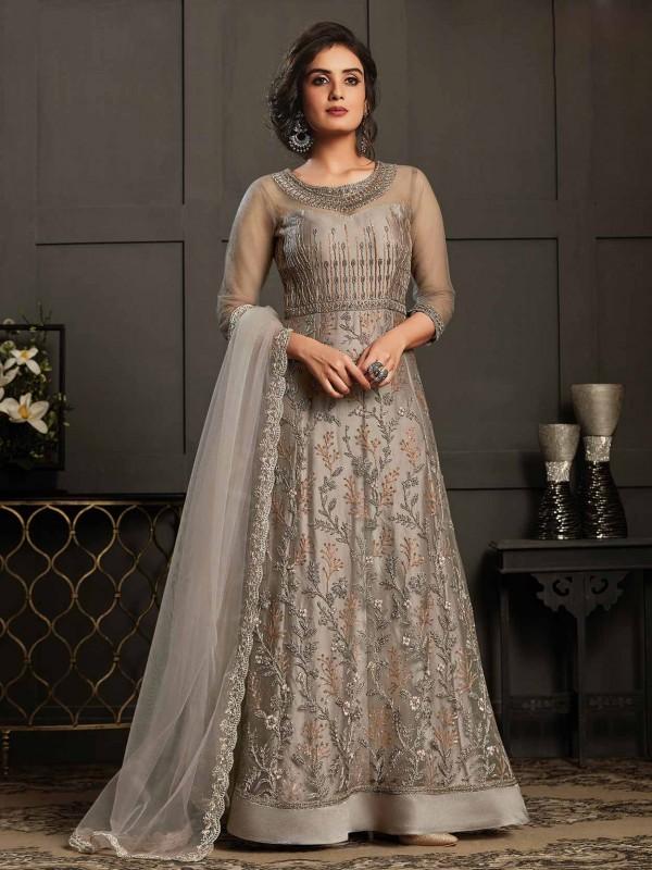 Net Women Salwar Kameez in Silver,Grey Colour