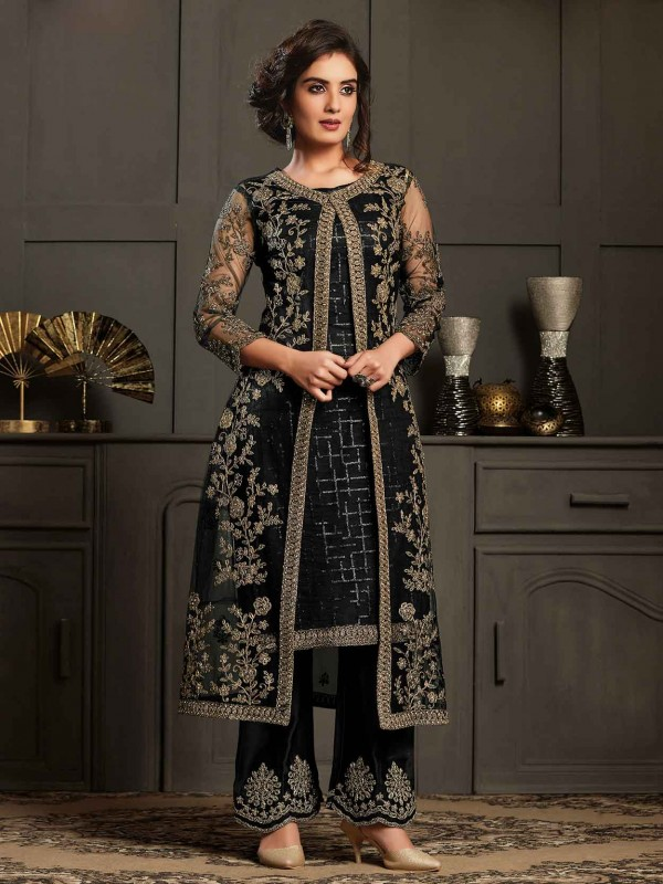 Black Colour Party Wear Salwar Suit in Embroidery Work.