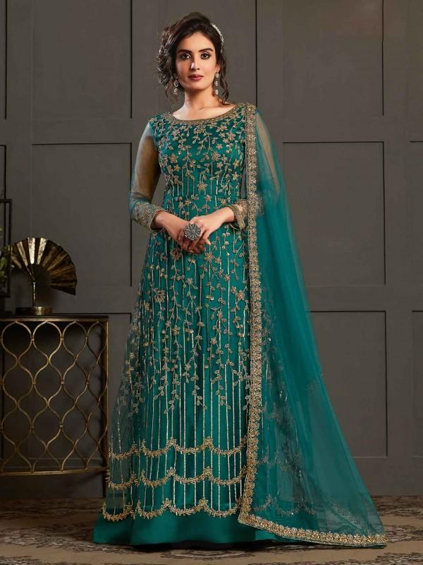 Teal Blue Colour Net Designer Anarkali Salwar Suit.