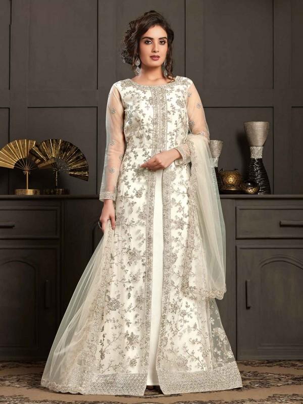 White Colour Net Anarkali Salwar Kameez.