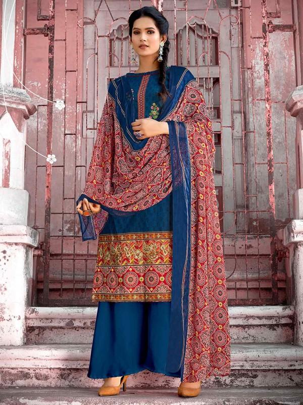 Blue Colour Cotton Pakistani Palazzo Salwar Suit.