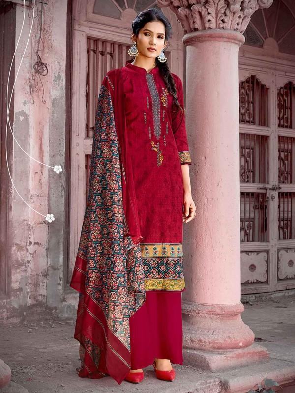 Red Cotton Party Wear Palazzo Salwar Kameez.