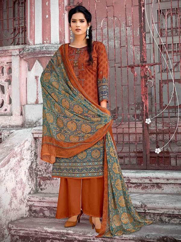 Brown Colour Cotton Fabric Women Salwar Kameez.