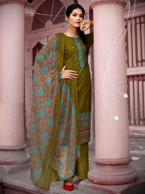 Green Colour Cotton Pakistani Salwar Suit.