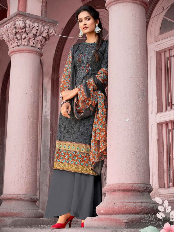 Cotton Palazzo Salwar Suit in Grey Colour.