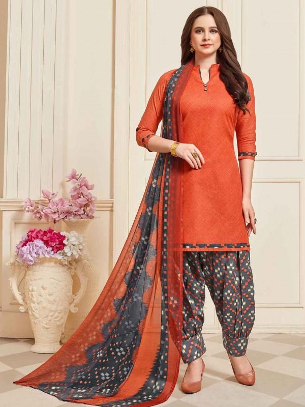 Dark Orange Patiala Salwar Suit in Cotton Fabric.