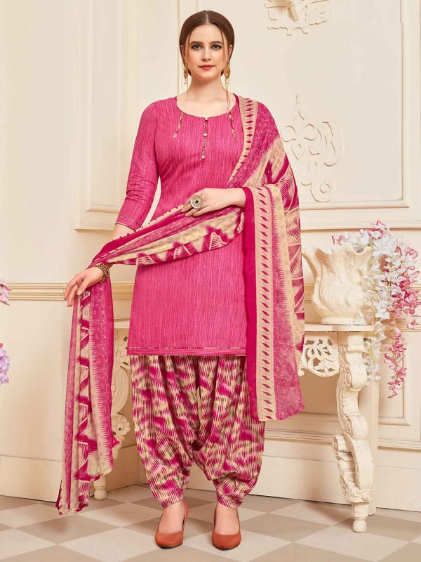 Cotton Printed Salwar Suit in Pink Colour.