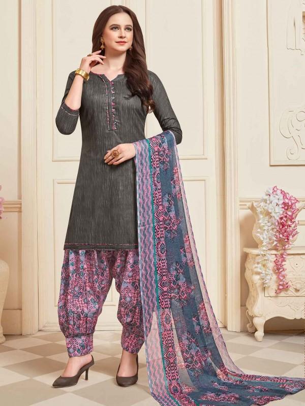 Dark Grey Cotton Salwar Kameez in Printed Work.