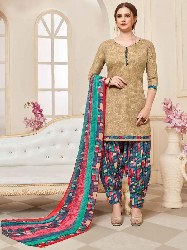 Beige Colour Cotton Patiala Salwar Suit.