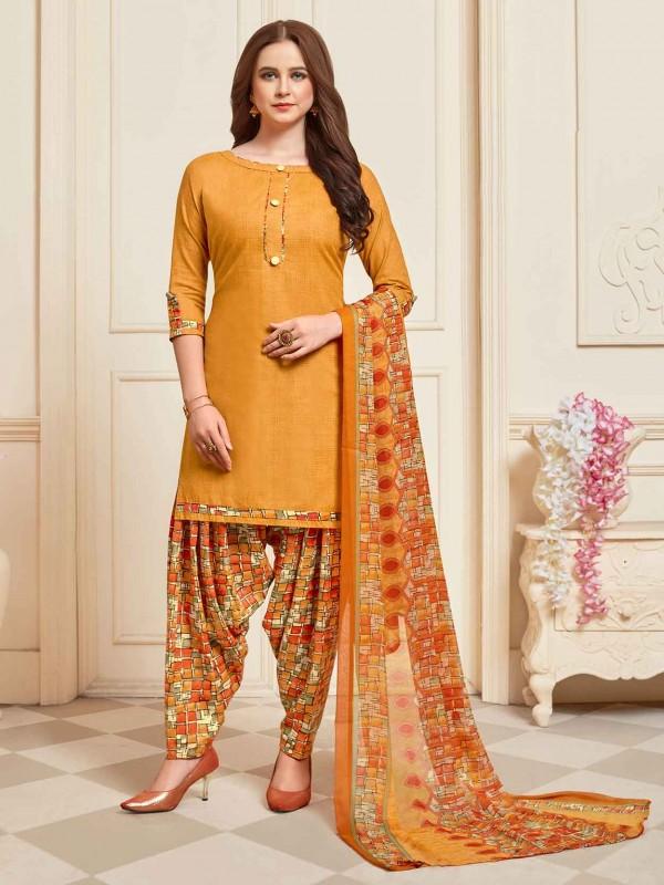 Yellow Colour Cotton Salwar Kameez.