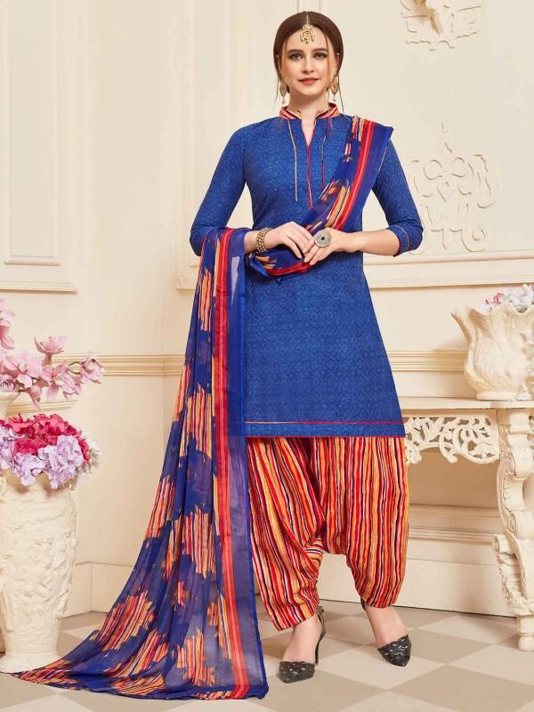 Cotton Printed Patiala Salwar Suit in Blue Colour.