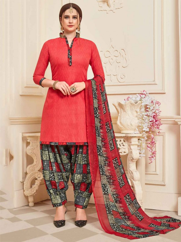 Red Colour Printed Salwar Suit.