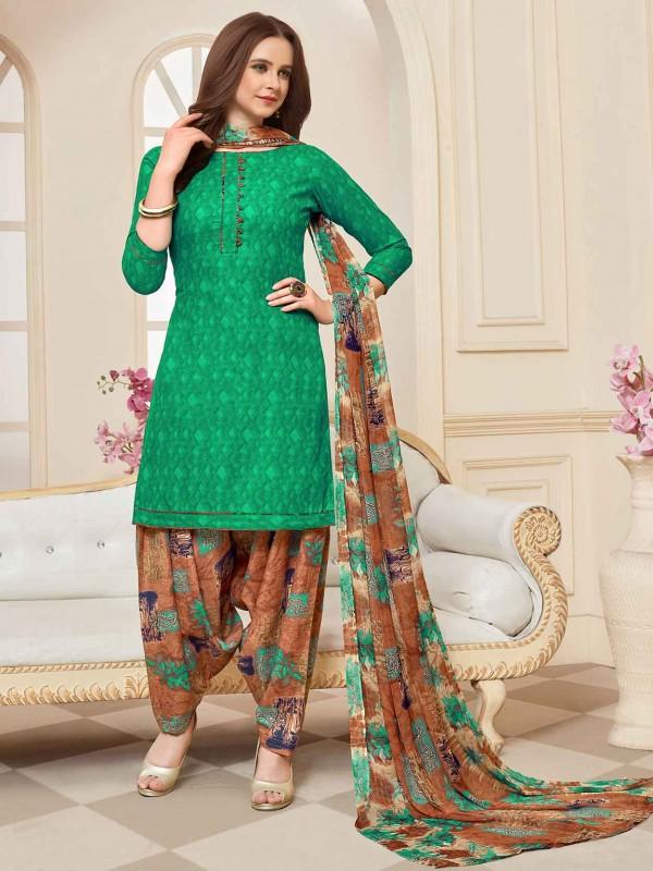 Green Cotton Printed Salwar Kameez.