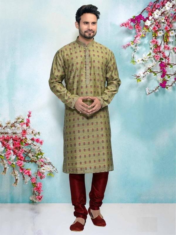 Green Colour Jacquard,Brocade Silk Fabric Kurta Pajama.