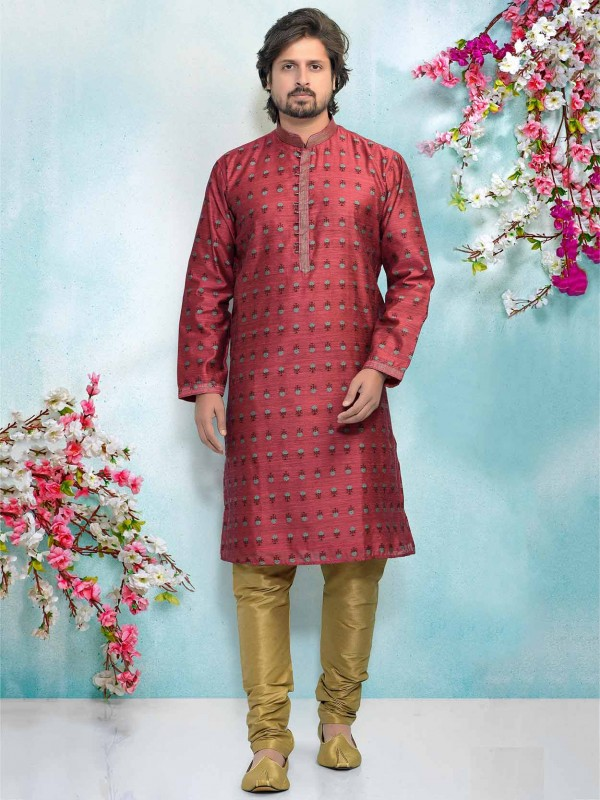 Magenta Colour Brocade Silk Designer Kurta Pajama.