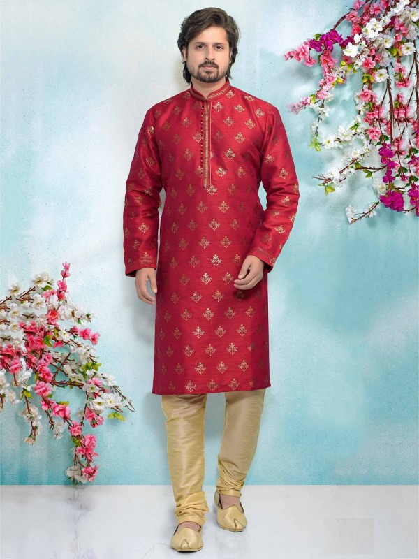 Rani Pink Colour Jacquard,Brocade Silk Men's Kurta Pajama.