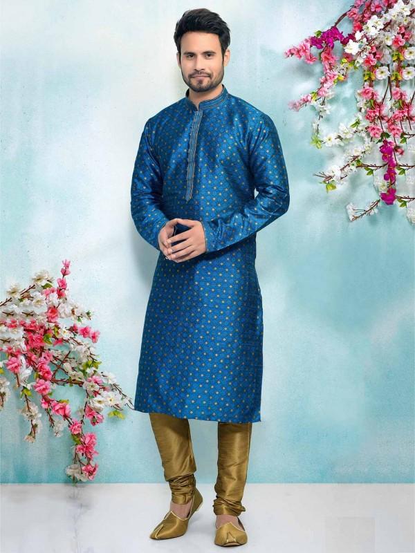 Blue Men's Designer Kurta Pajama.