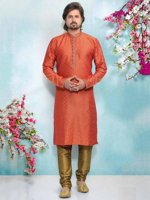 Orange Colour Brocade Silk Men's Kurta Pajama.