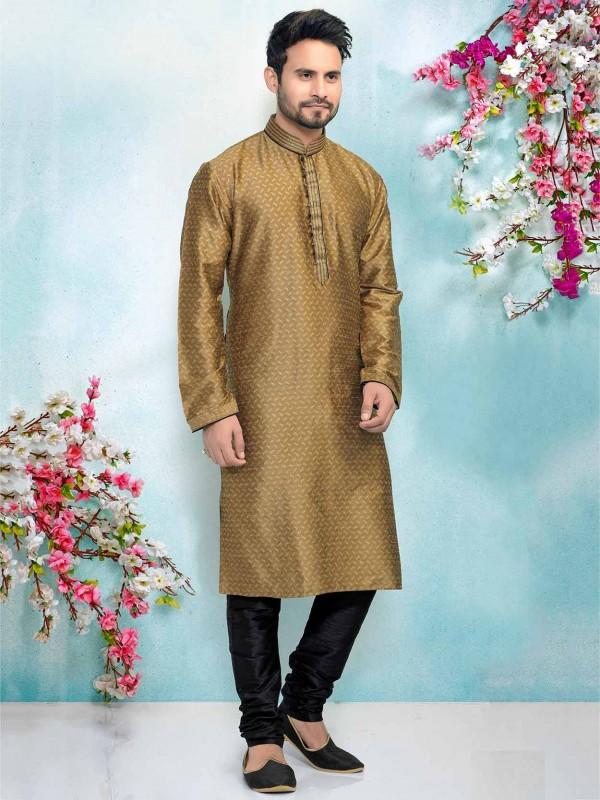 Brocade Silk Men's Kurta Pajama in Brown Colour.