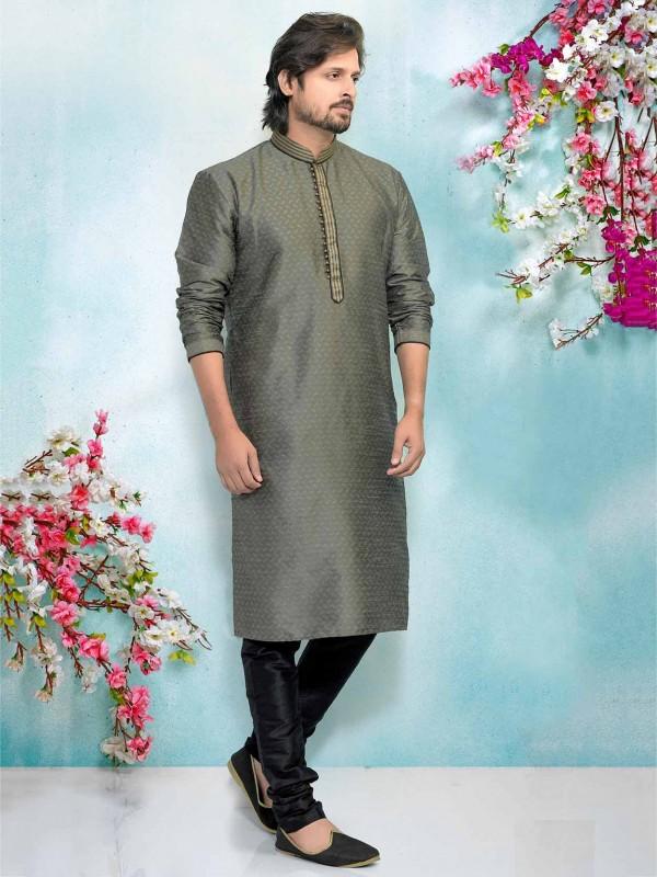 Grey Men's Kurta Pajama in Brocade Silk Fabric.