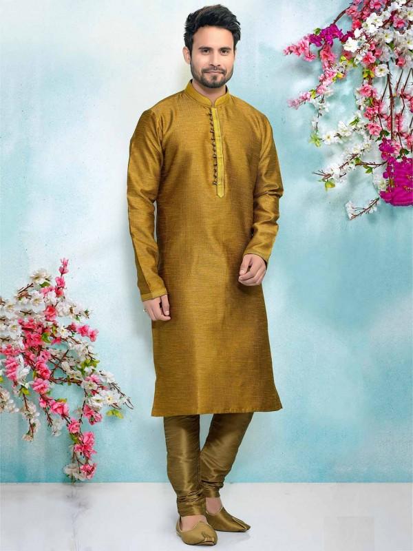 Yellow,Brown Colour Designer Kurta Pajama.