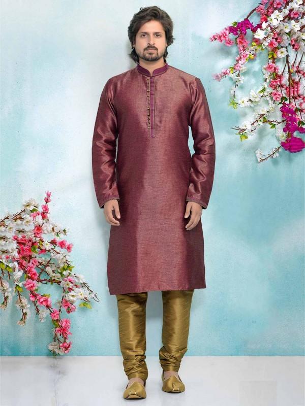 Purple Colour Brocade Silk Men's Kurta Pajama.